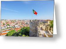 Lisbon Castle Flag Greeting Card
