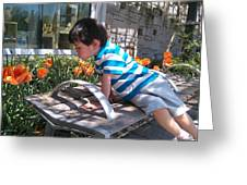 Little Boy And Flowers Greeting Card