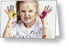 Little Girl Covered In Paint Making Funny Faces. Greeting Card