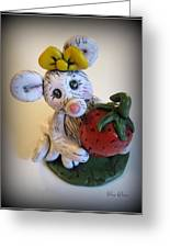 Little Mouse Big Strawberry Greeting Card by Trina Prenzi
