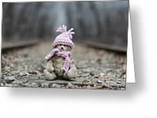 Little Teddy Bear Sitting In Knitted Scarf And Cap In The Winter Forest Between The Rails Greeting Card