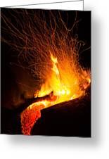 Log Campfire Burning At Night Greeting Card