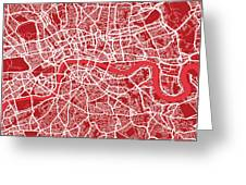 London Map Art Red Greeting Card by Michael Tompsett
