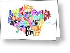 London Uk Text Map Greeting Card