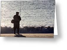 Lone Fisherman Greeting Card