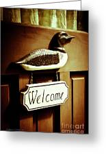 Loon Welcome Sign On Cottage Door Greeting Card