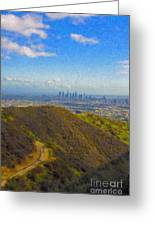 Los Angeles Ca Skyline Runyon Canyon Hiking Trail Greeting Card
