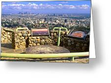 Los Angeles Skyline From Mulholland Greeting Card