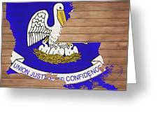 Louisiana Rustic Map On Wood Greeting Card