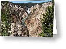 Lower Falls From Artist Point In Yellowstone National Park Greeting Card