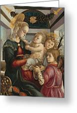 Madonna And Child With Angels Greeting Card