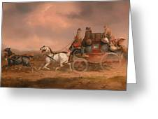 Mail Coaches On The Road Greeting Card