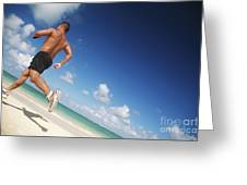 Male Beach Runner Greeting Card by Brandon Tabiolo - Printscapes