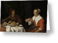 Man And Woman At A Meal Greeting Card