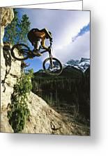 Man Jumping On His Mountain Bike Greeting Card