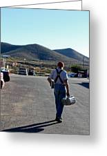 Man Walking With Newspapers Greeting Card