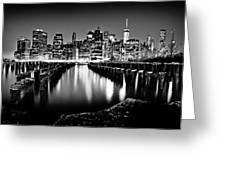 Manhattan Skyline At Night Greeting Card