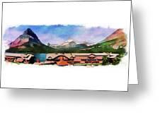 Many Glacier Hotel Panorama Greeting Card