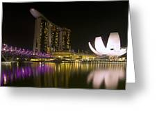 Marina Bay Sands Hotel And Artscience Museum In Singapore Greeting Card