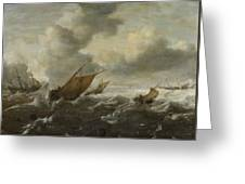 Maritime Scene With Stormy Seas Greeting Card
