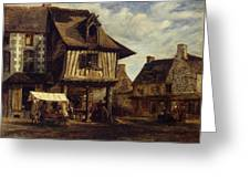 Market-place In Normandy Greeting Card