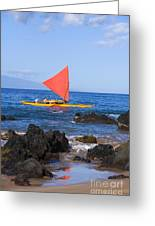 Maui Sailing Canoe Greeting Card
