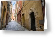 Medieval Street In Villefranche-sur-mer Greeting Card