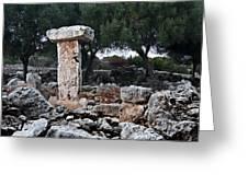 Megalithic Taula In Binisafua Menorca Bronze Age Greeting Card