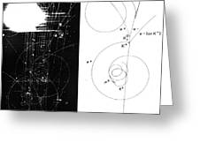 Mesons, Bubble Chamber Event Greeting Card