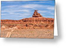 Mexican Hat Rock Monument Landscape On Sunny Day Greeting Card