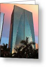 Miami Skyscraper At Sunset Greeting Card
