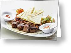 Middle Eastern Food Mixed Bbq Barbecue Grilled Meat Set Meal Greeting Card