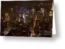 Midtown Manhattan Skyline Aerial At Night Greeting Card