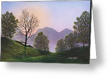 Misty Spring Meadow Greeting Card