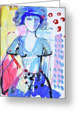 Model In Blue Greeting Card