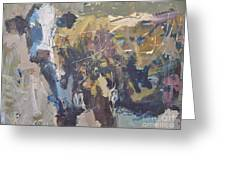 Modern Abstract Cow Painting Greeting Card by Robert Joyner