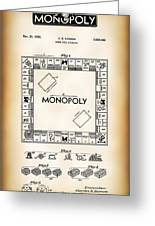 Monopoly Board Game Patent Art  1935 Greeting Card