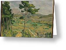 Mont Sainte-victoire And The Viaduct Of The Arc River Valley Greeting Card