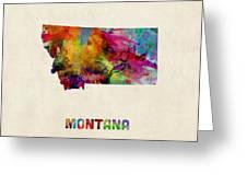 Montana Watercolor Map Greeting Card