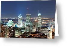 Montreal At Dusk Panorama Greeting Card