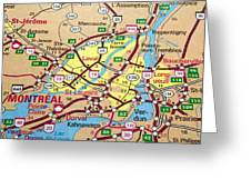 Montreal Map. Quebec. Greeting Card