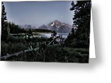Moonset On Jackson Lake Greeting Card