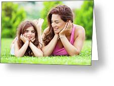 Mother With Daughter Outdoors Greeting Card