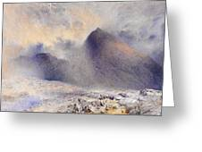 Mount Snowdon Through Clearing Clouds Greeting Card