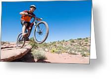 Mountain Biking The Porcupine Rim Trail Near Moab Greeting Card
