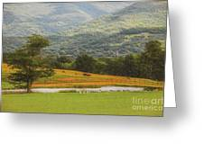 Mountain Farm With Pond In Artistic Version Greeting Card