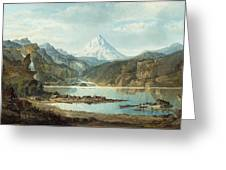 Mountain Landscape With Indians Greeting Card