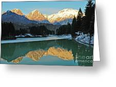 Mountain Reflections On Lago Di Barcis Greeting Card