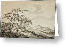 Mountainous Landscape With Three Ramblers Greeting Card