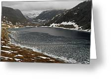 Mt. Dalsnibba And The Serpentine Descent To The Geirangerfjord Greeting Card